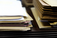 Files and Folders on Desk Work Busy Information working