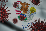 Corona Virus Outbreak with US State Flag of Illinois Coronavirus Concept