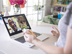 skype video recording with three individuals talking to one another