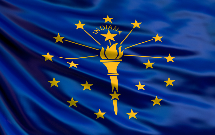 Indiana state flag. Waving flag of Indiana state, United States of America. 3d illustration