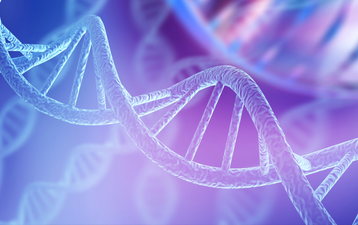 Blue DNA structure isolated background. 3D illustration