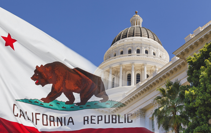 California State Capital with State Flag