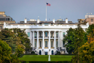 The White House with its trees and surrounding lawn.
