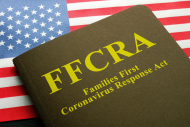 USA flag and families first coronavirus response act FFCRA law.