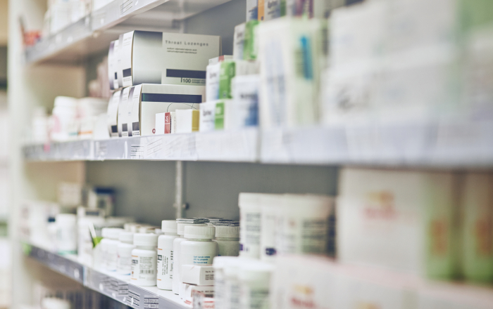 Cropped shot of shelves in a pharmacy